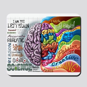 Left Brain Right Brain Cartoon Poster Mousepad